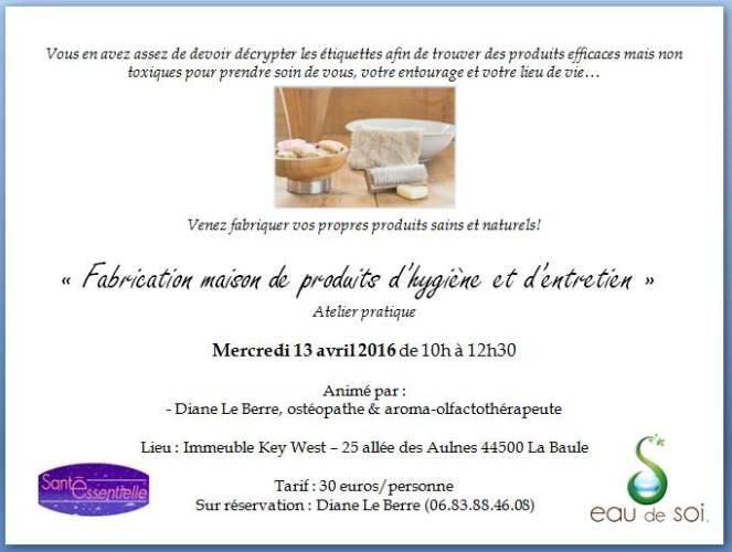 Fabrication maison produits hygiene et entretien - 13 avril 2016 - contour